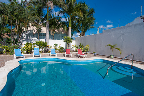 Exterior and pool at Casa Jen Cozumel vacation rental home