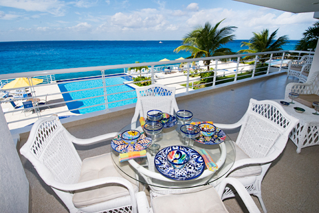 Oceanfront patio of Nah Ha 201 Cozumel vacation rental condo