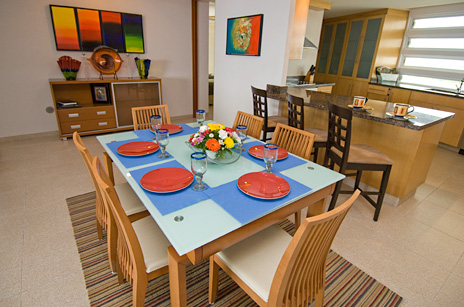 Dining area of Nah Ha 702 3 BR vacation rental condo on the isle of Cozumel Mexico